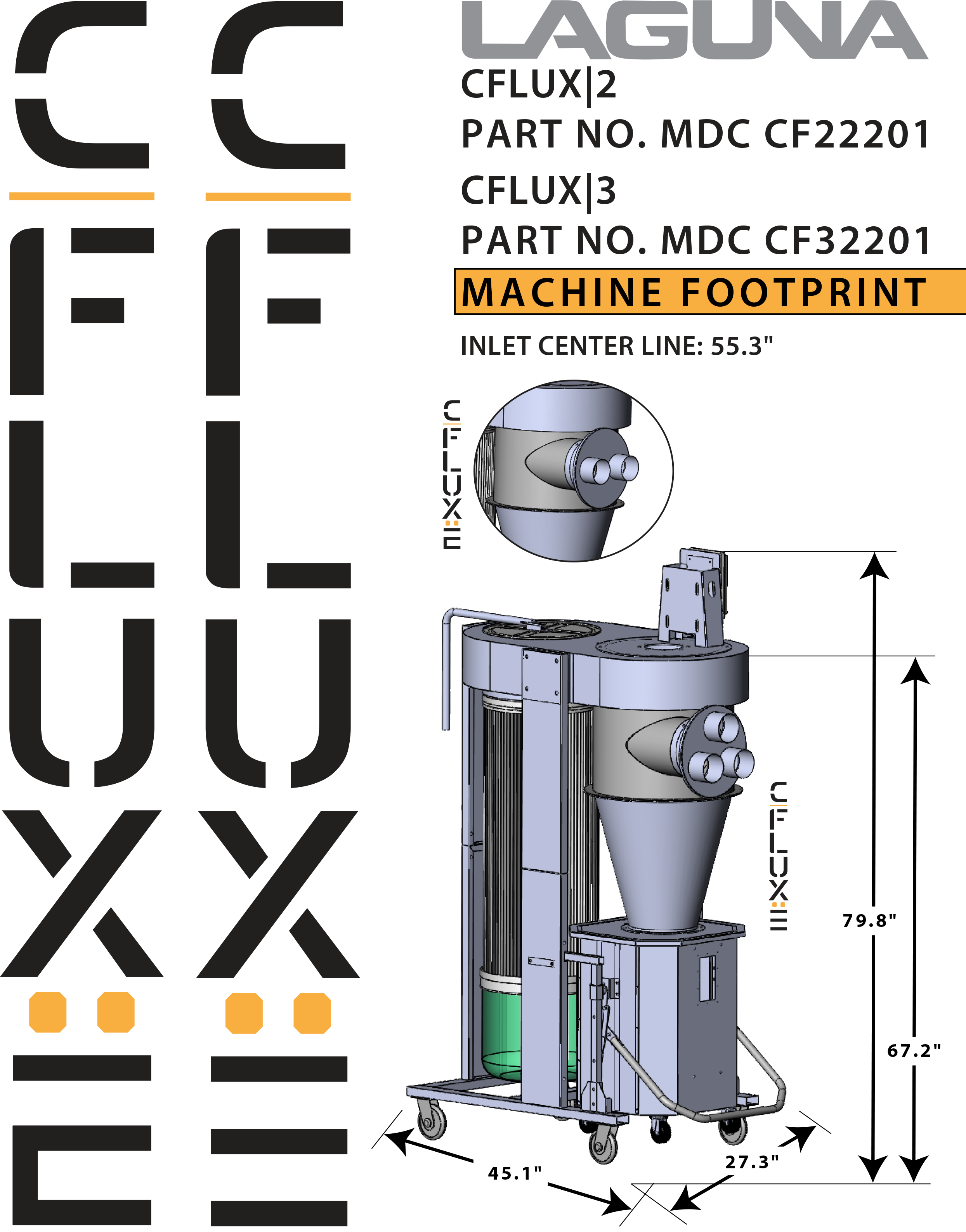cflux 3 cyclone dust collector laguna